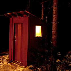Hostels. Outhouses. A lighted and heated outhouse at the Sub Sig outing club's Dickerman Cabin.  Hart's Location, NH