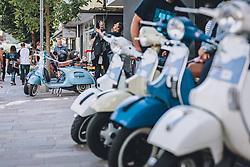 THEMENBILD - Vespas, in unterschiedlichen Farben, parken in der Fussgängerzone während der Vespa Alp Days in Zell am See, aufgenommen am 11. September 2020 in Zell am See, Oesterreich // Vespas, in different colours, park in the pedestrian zone during the Vespa Alp Days in Zell am See, in Zell am See, Austria on 2020/09/11. EXPA Pictures © 2020, PhotoCredit: EXPA/Stefanie Oberhauser