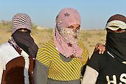 Israel, Negev desert, three female Bedouin youths