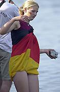 Trakai, LITHUANIA.  German supporter dressed in the German Flag, 2002 Junior World Rowing Championships, on Lake Galva Friday  09/08/2002 [Mandatory Credit: Peter Spurrier/ Intersport Images] 200208 Junior World Rowing Championships, Trakai, LITHUANIA