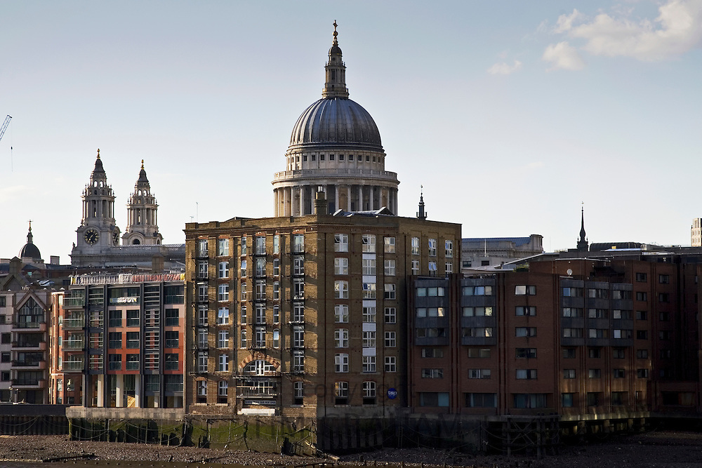 Wharf buildings and St Paul's Cathedral, London, England, United Kingdom