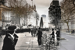 © Licensed to London News Pictures. 25/03/2020. London, UK. In this combined image police surround protesters on Whitehall near the Cenotaph during the London poll tax riots on March 31st 1990 overlaid on the same location today. The protest on the last day of March in 1990 started peacefully when thousands gathered in a south London park to demonstrate against Margaret Thatcher's Government's introduction of the Community Charge - commonly known as the poll tax. Marchers walked to Whitehall and Trafalgar Square where violence broke out with the trouble spreading up through Charring Cross Road and on to the West End. Police estimated that 200,000 people had joined the protest and 339 were arrested. The hated tax was eventually replaced by the Council Tax under John Major's government in 1992.  Photo credit: Peter Macdiarmid/LNP