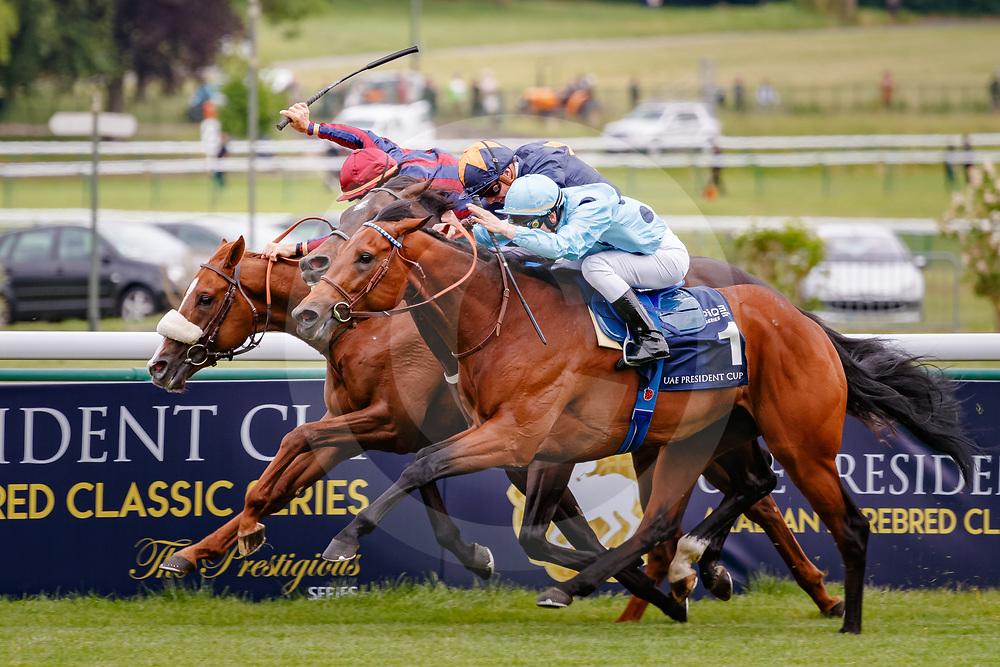 Olmedo (C. Demuro) (blue cap) wins The Emirates Poule d'Essai des Poulains Gr. 1, in Paris Longchamp, France, 13/05/2018, photo: Zuzanna Lupa