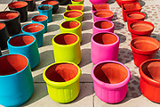Colorful ceramic pots on sale at the pottery market in Dolores Hidalgo, Guanajuato, Mexico. The town is where Independence leader Miguel Hidalgo issued the now world famous Grito - a call to arms for Mexican independence from Spain.