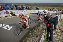 Amy Pieters (Boels Dolmans) is chasing down lone escapee, Ellen van Dijk (Sunweb) the finl time over the VAMberg at Ronde van Drenthe 2017. A 152 km road race on March 11th 2017, starting and finishing in Hoogeveen, Netherlands. (Photo by Sean Robinson/Velofocus)