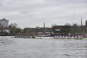 Putney, London, University Boat Race, Oxford UBC left as both crews on the Hammersmith Bend during  the 156th Race, on the Championship Course Putney to Hammersmith  Saturday  03/04/2010 [Mandatory Credit Peter Spurrier/ Intersport Images]  <br /> <br /> CUBC Crew, Bow - Rob WEITEMEYER, Geoff ROTH, George NASH, Peter McCELLAND, Deaglan McEACHERN, Henry PELLY, Derek RASMUSSEN, Stroke - Fred GILL and Cox - Ted RANDOLPH<br /> <br /> OUBC crew, Bow - Ben MYERS, Martin WALSH, Tyler WINKLEVOSS, Cameron WINKLEVOSS, Sjoerd HAMBURGER, Matt EVANS, Simon GAWLIK, Stroke - Charlie BURKITT and Cox - Adam BARHAMAND