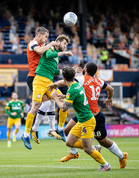 Preston North End's Tom Barkhuizen competing with Luton Town's Dan Potts (left) <br /> <br /> Photographer Andrew Kearns/CameraSport<br /> <br /> The EFL Sky Bet Championship - Luton Town v Preston North End - Saturday 20th June 2020 - Kenilworth Road - Luton<br /> <br /> World Copyright © 2020 CameraSport. All rights reserved. 43 Linden Ave. Countesthorpe. Leicester. England. LE8 5PG - Tel: +44 (0) 116 277 4147 - admin@camerasport.com - www.camerasport.com