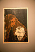 'Man's Head in Woman's Hair' 1896 woodcut by Edvard Munch 1863-1944, Kode 3 art gallery Bergen, Norway