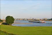 Nederland, Slijk Ewijk, 31-7-2015 Gezicht op de uiterwaarden langs de rivier de Waal. Op de achtergrond De stadsbrug de Oversteek en de stad Nijmegen. Foto: Flip Franssen/Hollandse Hoogte