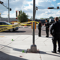 Gallup Police Department gather evidence and investigate a stabbing at 2nd and Route 66, Thursday, June 6 in Gallup.
