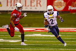 NORMAL, IL - September 21: Nate Stinson pursued by Jarrell Jackson during a college football game between the ISU (Illinois State University) Redbirds and the Northern Arizona University (NAU) Lumberjacks on September 21 2019 at Hancock Stadium in Normal, IL. (Photo by Alan Look)