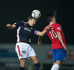 Falkirk's Will Vaulks and Cowdenbeath's Sean Higgins.<br /> Falkirk 1 v 0 Cowdenbeath, William Hill Scottish Cup game played 29/11/2014 at The Falkirk Stadium.