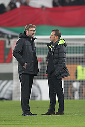 18.02.2016, WWKArena, Augsburg, GER, UEFA EL, FC Augsburg vs FC Liverpool, Sechzehntelfinale, Hinspiel, im Bild Trainer Juergen Klopp ( FC Liverpool )rechts Trainer Markus Weinzierl ( FC Augsburg ) // during the UEFA Europa League Round of 32, 1st Leg match between FC Augsburg and FC Liverpool at the WWKArena in Augsburg, Germany on 2016/02/18. EXPA Pictures © 2016, PhotoCredit: EXPA/ Eibner-Pressefoto/ Langer<br /> <br /> *****ATTENTION - OUT of GER*****