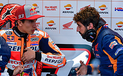 October 26, 2018 - Melbourne, Victoria, Australia - Spanish rider Marc Marquez (#93) of Repsol Honda Team (L) speaks with his crew chief Santi Hernandez during day 2 of the 2018 Australian MotoGP held at Phillip Island, Australia. (Credit Image: © Theo Karanikos/ZUMA Wire)