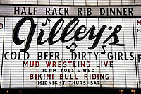 Gilley's Cold Beer...Dirty Girls Marquee Sign at the Frontier Casino, Las Vegas, Nevada