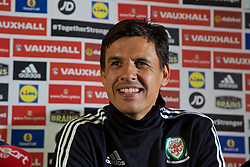 CARDIFF, WALES - Monday, May 23, 2016: Wales manager Chris Coleman during a press conference to announce a contract extension at the Vale Resort Hotel. (Pic by David Rawcliffe/Propaganda)