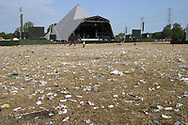 Mandatory Credit: Photo by STEVE MEDDLE / Rex Features<br /> LITTER AFTER THE EVENT<br /> GLASTONBURY FESTIVAL DAY 3, BRITAIN - 29 JUN 2003<br /> <br /> REFUSE WASTE RUBBISH PYRAMID STAGE