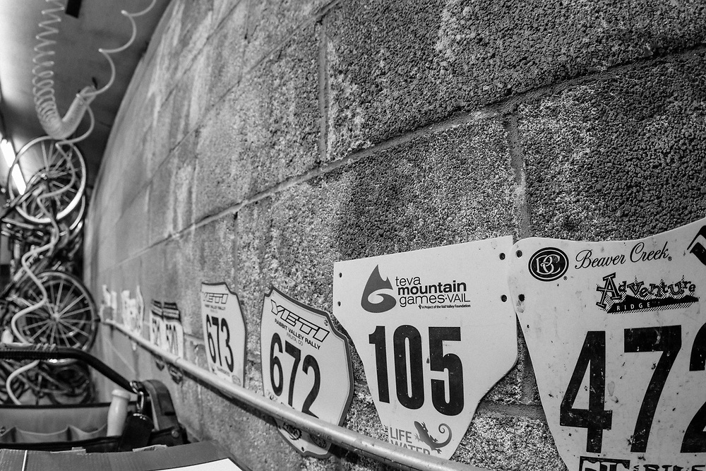 Chris Cook's racing number plates from a season of riding.