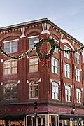 Christmas wreath along Burroughs Street in Savannah, GA.