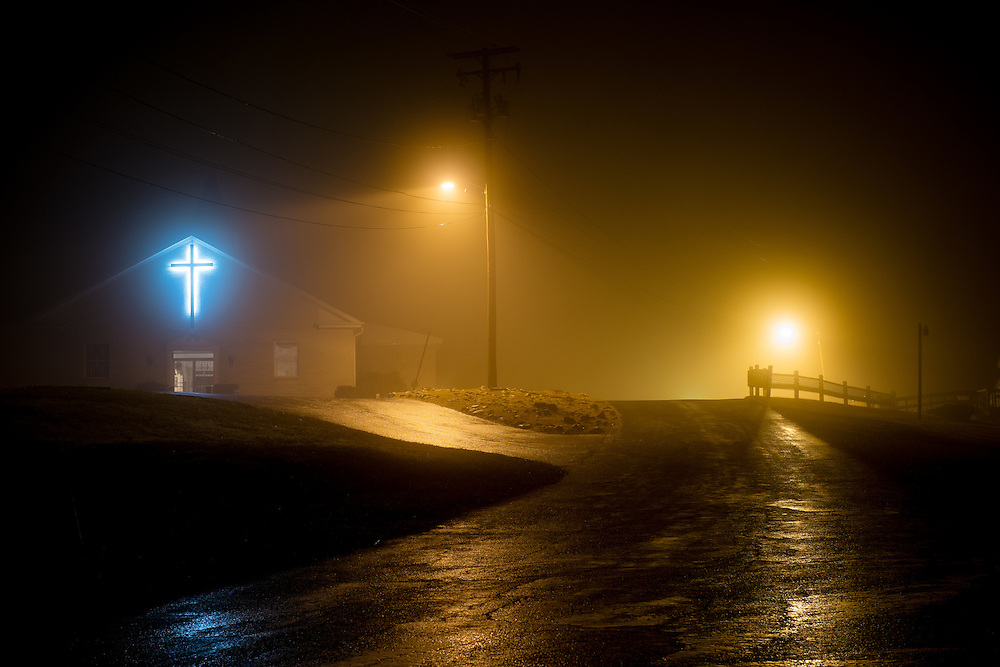 The Full Gospel Pentecostal Church in Oella, Maryland shot at night in fog.