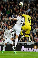 Real Madrid´s Pepe and Villarreal CF´s Joel Campbell during 2014-15 La Liga match between Real Madrid and Villarreal CF at Santiago Bernabeu stadium in Madrid, Spain. March 01, 2015. (ALTERPHOTOS/Luis Fernandez)