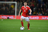 Ben Davies of Wales in action. Vauxhall International football friendly, Wales v The Netherlands at the Cardiff city stadium in Cardiff, South Wales on Friday 13th November 2015. pic by Andrew Orchard, Andrew Orchard sports photography.