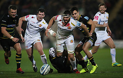 Exeter Chiefs' Don Armand spills the ball after he was tackled by Northampton Saints' Luther Burrell during the Gallagher Premiership match at Franklin's Gardens, Northampton.