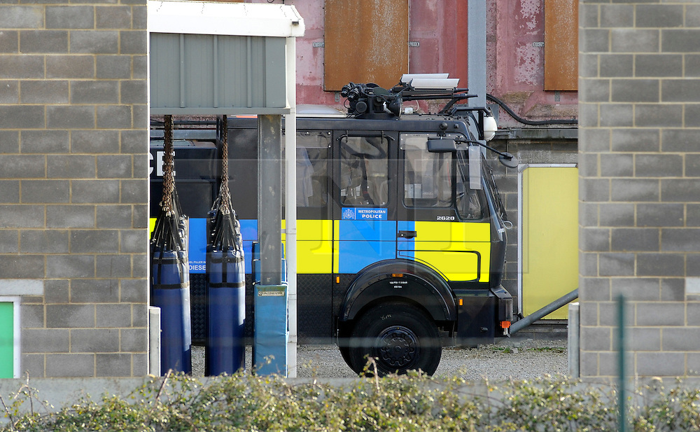 © Licensed to London News Pictures. 15/02/2016<br /> A Metropolitan Police branded water cannon parked at a yard in Gravesend, Kent. Two Metropolitan Police water cannons with a new paint job and Met Police logo on the side have been spotted at the Metropolitan Police Specialist Training facility. Home secretary Theresa May had refused to allow the use off water cannon in England and Wales. Photo credit: Grant Falvey/LNP