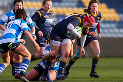 Carys Phillips, returning to the Worcester Warriors Women side after injury, is tackled - Mandatory by-line: Nick Browning/JMP - 09/01/2021 - RUGBY - Sixways Stadium - Worcester, England - Worcester Warriors Women v DMP Durham Sharks - Allianz Premier 15s