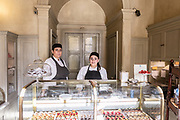 Milan, GIACOMO, la pasticceria . Taking inspiration from the old Italian shops and with a glance in the direction of Parisian boulangeries, architects Roberto Peregalli and Laura Sartori Rimini created this little shop featuring mid-19th century flower paintings on the walls and ceiling. The refined but unostentatious setting gives those who step inside its door a pleasing sense of the familiarity of old-time pastry shops.