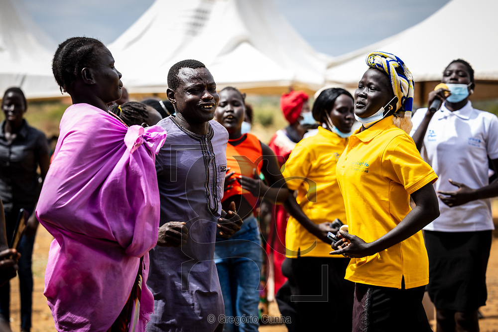 JUBA, SOUTH SUDAN- 22 DECEMBER: People from the Jondoru region of different tribes perform traditional dances at an event held in the local market organised by the United Nations to celebrate the 16 Days of Activism against Gender Based Violence and the commemoration of the International Human Rights Day, Juba, South Sudan, 22 December 2020. <br />Photo by UN/Gregorio Cunha