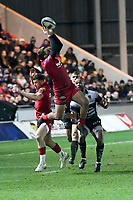 Rugby Union - 2017 / 2018 European Rugby Champions Cup: Scarlets vs. RC Toulonnaise<br /> <br /> Paul Asquith of Llanelli Scarlets  leaps to take the ball from a kick off, at Parc y Scarlets, Llanelli.<br /> <br /> COLORSPORT/WINSTON BYNORTH