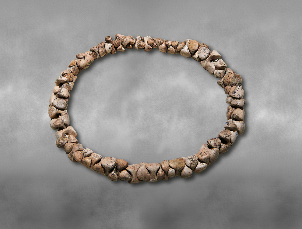 Bone necklace. Catalhoyuk Collections. Museum of Anatolian Civilisations, Ankara. Against a gray mottled background .<br /> <br /> If you prefer you can also buy from our ALAMY PHOTO LIBRARY  Collection visit : https://www.alamy.com/portfolio/paul-williams-funkystock/prehistoric-neolithic-art.html - Type Catalhoyuk into the LOWER SEARCH WITHIN GALLERY box. Refine search by adding background colour, place, museum etc.<br /> <br /> Visit our PREHISTORIC PLACES PHOTO COLLECTIONS for more  photos to download or buy as prints https://funkystock.photoshelter.com/gallery-collection/Prehistoric-Neolithic-Sites-Art-Artefacts-Pictures-Photos/C0000tfxw63zrUT4