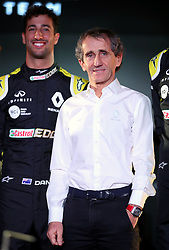 Driver Daniel Ricciardo poses with retired racing driver Alain Prost during the Renault F1 Team 2019 season launch at Whiteways Technical Centre, Oxford.