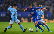 Marc Albrighton of Leicester city (c) dribbles past Brahim Diaz of Manchester City (l). Carabao Cup quarter final match, Leicester City v Manchester City at the King Power Stadium in Leicester, Leicestershire on Tuesday 19th December 2017.<br /> pic by Bradley Collyer, Andrew Orchard sports photography.