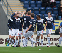 Falkirk's Rory Loy (33) cele scoring their goal.<br /> half time : Falkirk 1 v 0 Dundee, 21/9/2013.<br /> ©Michael Schofield.
