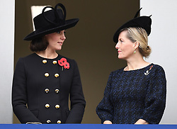 Members of The Royal Family attend Remembrance Sunday at The Cenotaph, London, UK, on the 12th November 2017. 12 Nov 2017 Pictured: Catherine, Duchess of Cambridge, Kate Middleton, Sophie, Countess of Wessex. Photo credit: James Whatling / MEGA TheMegaAgency.com +1 888 505 6342