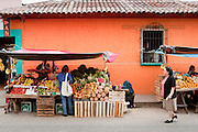 27 APRIL 2005 - SAN CRISTOBAL DE LAS CASAS, CHIAPAS, MEXICO: A fruit and produce stand in San Cristobal de las Casas, Chiapas, Mexico. San Cristobal de las Casas is an important tourist destination for those who want to visit Mexican colonial cities. San Cristobal is the center of the Chiapas highlands and an important indigenous community. Fear of political violence in the area has diminished in recent years and the tourism industry has rebounded as a result.  PHOTO BY JACK KURTZ