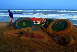 June 17, 2017 - Bhubaneswar, India - A sand art is seen in the Bay of Bengal's eastern coast beach as it created by Indian sand artist Sudarshan Pattnaik to encourage players of India and Pakistan of their Cricket and hockey matches at Puri, 65 km away from the eastern Indian state Odisha's capital city Bhubaneswar, on June 18, 2017. (Credit Image: © Str/NurPhoto via ZUMA Press)
