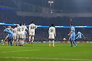 Yaya Toure of Manchester City scores a goal to equalise at 1-1 - Manchester City vs. CSKA Moscow - UEFA Champions League - Etihad Stadium - Manchester - 05/11/2014 Pic Philip Oldham/Sportimage