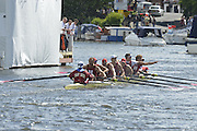 Henley, GREAT BRITAIN. Ladies Challenge Plate. Harvard university Celebrate after winning the final, from Leander club, on the line, verdict One foot at 2012 Henley Royal Regatta...Sunday  16:16:13  01/07/2012. [Mandatory Credit, Peter Spurrier/Intersport-images]...Rowing Courses, Henley Reach, Henley, ENGLAND . HRR.