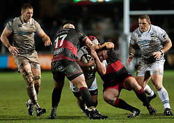 Ospreys' Ma'afu Fia under pressure from Dragons' Nicky Thomas<br /> <br /> Photographer Simon King/Replay Images<br /> <br /> Guinness Pro14 Round 12 - Dragons v Cardiff Blues - Sunday 31st December 2017 - Rodney Parade - Newport<br /> <br /> World Copyright © 2017 Replay Images. All rights reserved. info@replayimages.co.uk - http://replayimages.co.uk