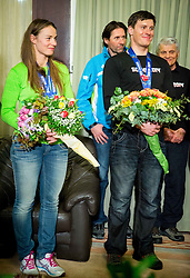 Tina Maze of Slovenia, 2-times gold winner, her coach Andrea Massi,  Ivica Kostelic of Croatia, silver medallist and his father and coach Ante Kostelic during reception at arrival from Sochi Winter Olympic Games 2014 on February 23, 2014 in Airport Zagreb, Croatia. Photo by Vid Ponikvar / Sportida