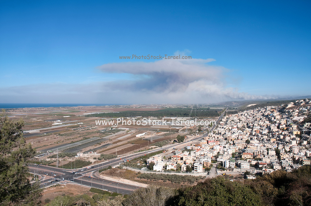 Israel, Coastal plains as seen from the Carmel mountain Anvil cloud formation in the background