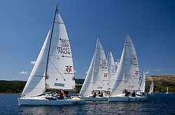 Sailing - SCOTLAND  - 25th May 2018<br /> <br /> Opening days racing the Scottish Series 2018, organised by the  Clyde Cruising Club, with racing on Loch Fyne from 25th-28th May 2018<br /> <br /> Hunter 707 Fleet, start, GBR7062N, Sharky, Andy Hughes, THYC, Hunter 707 OD<br /> <br /> Credit : Marc Turner<br /> <br /> Event is supported by Helly Hansen, Luddon, Silvers Marine, Tunnocks, Hempel and Argyll & Bute Council along with Bowmore, The Botanist and The Botanist