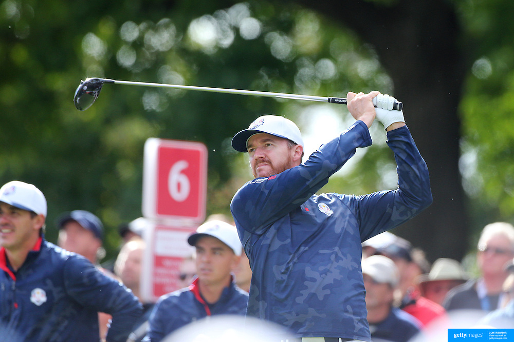 Ryder Cup 2016. Jimmy Walker of the United States during practice day in front of massive crowds at the Hazeltine National Golf Club on September 28, 2016 in Chaska, Minnesota.  (Photo by Tim Clayton/Corbis via Getty Images)
