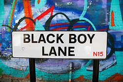© Licensed to London News Pictures. 22/10/2021. London, UK. Black Boy Lane street sign in north London. Sadiq Khan, Mayor of London has unveiled £25,000 grants to help local communities to change street names as part of a diversity campaign launched following the Black Lives Matter protests. Haringey Council in north London has already moved to change the Black Boy Lane street name. Photo credit: Dinendra Haria/LNP