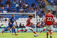 Bristol City's Han-Noah Massengo (42) in action during the EFL Sky Bet Championship match between Cardiff City and Bristol City at the Cardiff City Stadium, Cardiff, Wales on 28 August 2021.