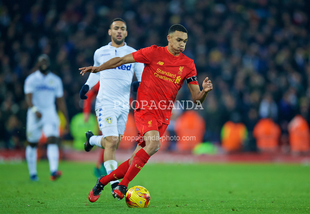 LIVERPOOL, ENGLAND - Tuesday, November 29, 2016: Liverpool's Trent Alexander-Arnold in action against Leeds United during the Football League Cup Quarter-Final match at Anfield. (Pic by David Rawcliffe/Propaganda)