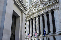 The architecture of the New York Stock Exchange building in downton Manhattan.